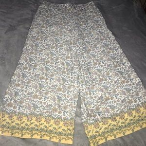 Flowered print coulettes dress pant / w pockets